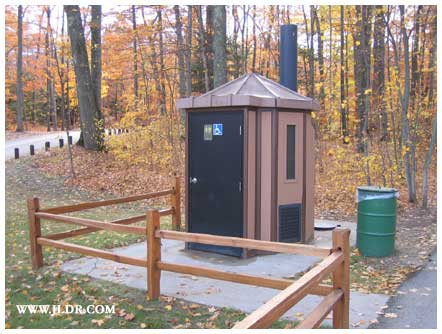 A modern outhouse at the Mission Lighthouse