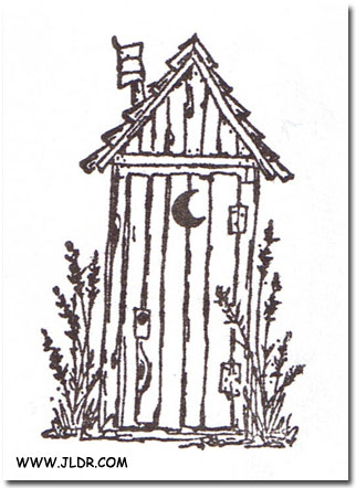 Outhouse ink-pad stamp purchased at a scrapbooking store