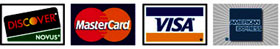 We accept DISCOVER, NOVUS, MasterCard, VISA and American Express
