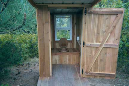 Inside the outhouse