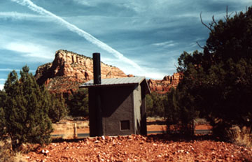 A beautiful picture of a Sedona Outhouse