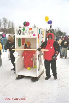 The clowns even race Outhouses