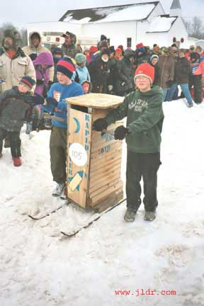 This outhouse took 2nd place in the kids race