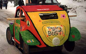 Back of the Flower Power Car-Outhouse