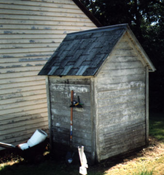 Pretty good photo of the back of the World-famous Outhouse