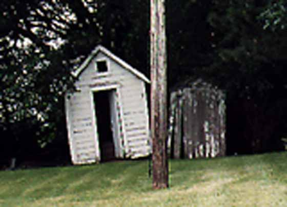 A Close-up of the Rosendale Church Outhouse