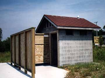 Cement Outhouse on Lake Michigan Beach