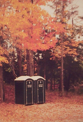 Beautiful Fall Picture of Portable Outhouses