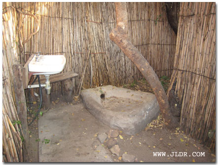 Ngepi Lodge On The Okavango River In Namibia Shower Stall.  Outhouse Shower Curtain