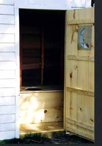 Inside view of the Haven's Homestead Outhouse