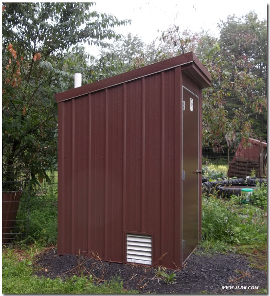 Outhouse made from metal roofing