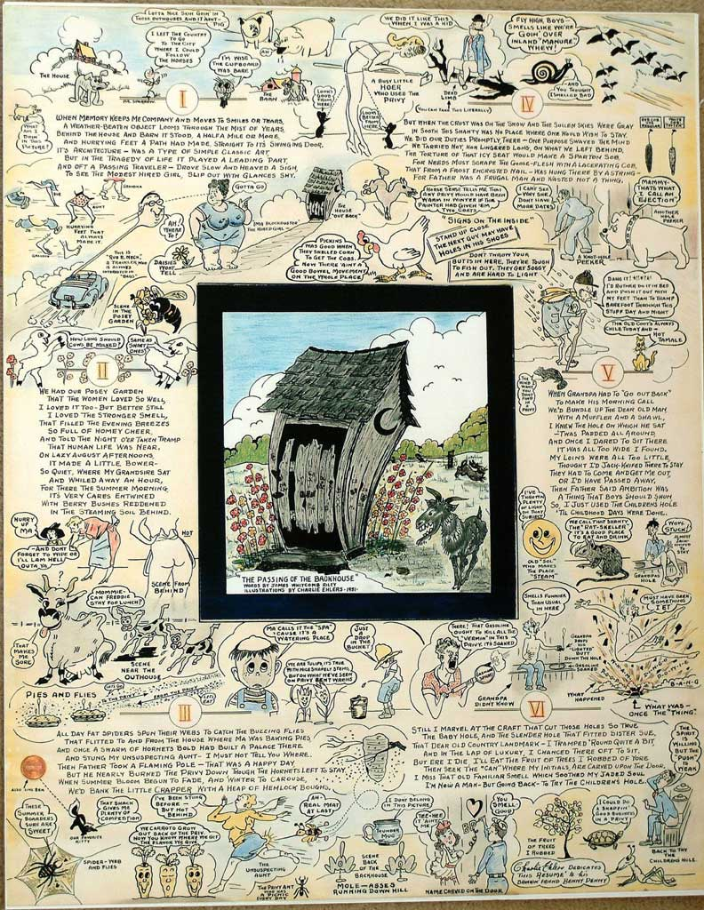 An incredible poster featuring The Passing of the Backhouse, a poem about Outhouses