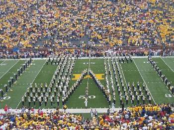 The Michigan Marching Band and the famous Block M