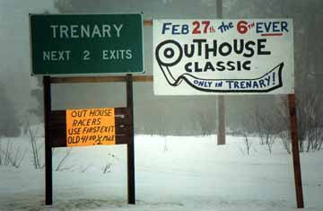 Official Trenary Outhouse Races Sign